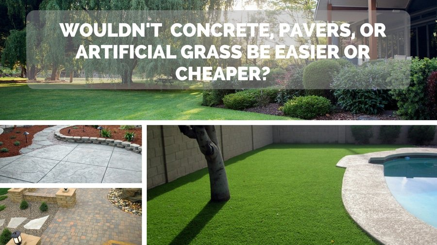 Would pavers, bricks, concrete or artificial grass be cheaper?
